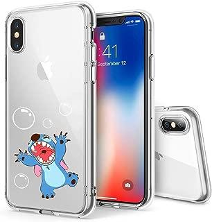 Litech™ Case for Apple iPhone Xs MAX (2018) [Flexfit] Premium Clear Scratch-Resistant Cute Creative Artistic Design [Wireless Charging Compatible] (Stitch 1)
