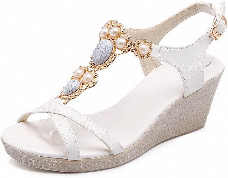 AllhqFashion Women's Soft Material Open Toe Kitten-Heels Buckle Solid Sandals