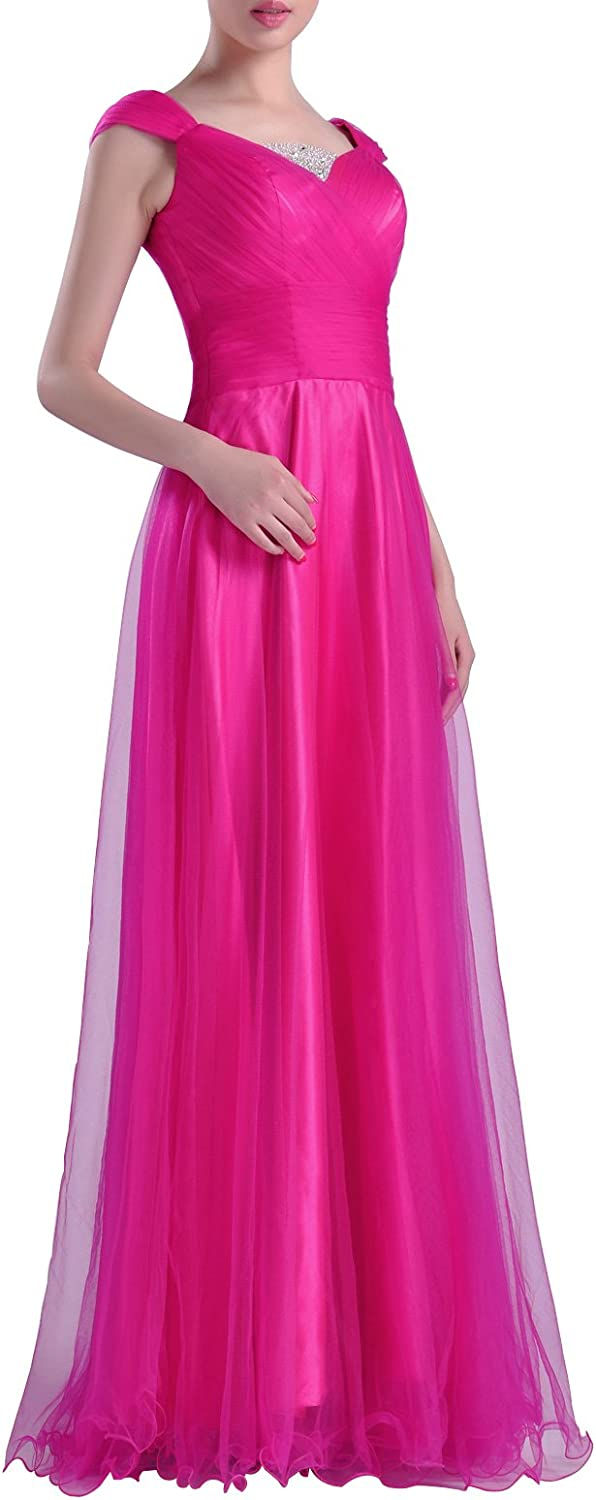 Natrual Straps Tulle Floor Length Prom Dress with sleeves