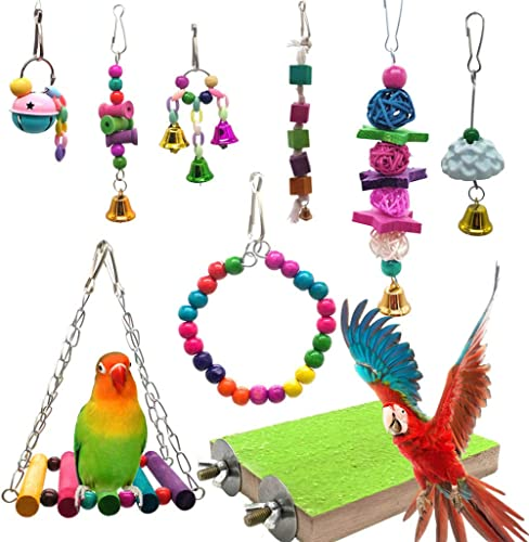 Mrli Pet 9 Pack Bird Swing Toys with Colorful Wood Beads Bells and Wooden Hammock Hanging Perch for Budgie Lovebirds ...