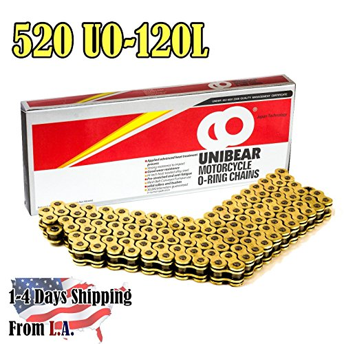 Unibear O-Ring 520 120 Links Motorcycle Chain, GOLD, With 1 Connecting Link, Japan Technology