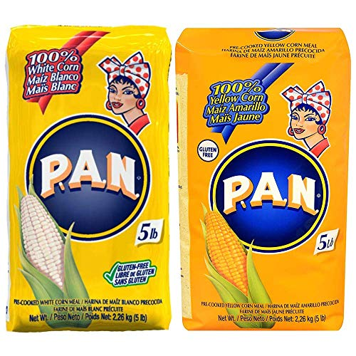 P.A.N. White & Yellow Corn Meal – Pre-cooked Gluten Free and Kosher Flour for Arepas 2.27 kg each
