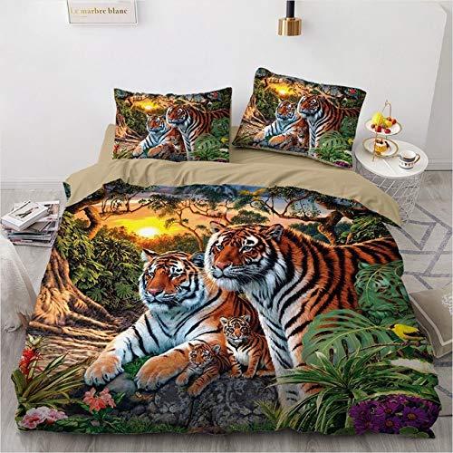 Mdsfe 3D Bedding Sets Black Duvet Quilt Cover Set Comforter Bed Linen Pillowcase King Queen 140x210cm Size Animal Tiger Design Printed - tiger009-Camel, Double