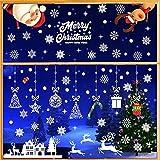 9 Hojas Pegatinas de Navidad, Decoración de Navidad Reutilizables de PVC, Copos de Nieve Reno Papá Noel Decoración de Ventana para Vidrio