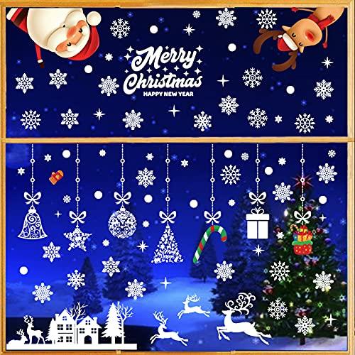 9 Fogli Natale Vetrofanie Addobbi, Renna Babbo Natale Rimovibile Adesivi Statico Riutilizzabili PVC per Vetro Decorazione