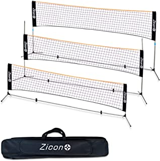 Portable Tennis Net,Stainless Steel Poles Badminton Net Set –Adjustable Height Nylon Net with , Carry Bag, for Kids Volleyball, Pickleball,Soccer, Indoor, Outdoor Court, Backyard, Beach, Driveway