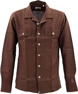 [GIANNETTO ジャンネット] メンズ リネン オープンカラー 開襟シャツ WASH CON 0103 845CARA2P 005(ブラウン)