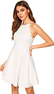 Women's Sweet Scallop Sleeveless Flared Swing Pleated A-line Skater Dress