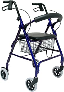 Karman Healthcare R-4600-BL Aluminum Rollator with Standard Seat Height, Blue, 6