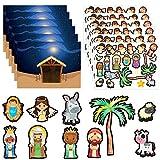FaCraft Nativity Stickers,24 Sheets Make a Nativity Scene Sticker,Funny Christmas Crafts for Religious Party Favor Nativity Scene Party Game for Kids