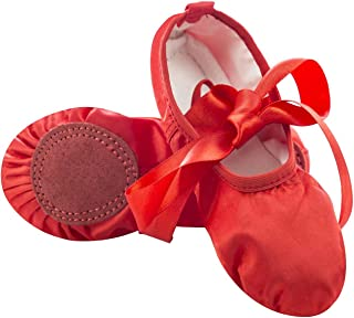 Girls Satin Ballet Shoes Split Sole Flat Dance Slippers Yoga Shoes for Toddlers/Little Kid/Big Kid/Women