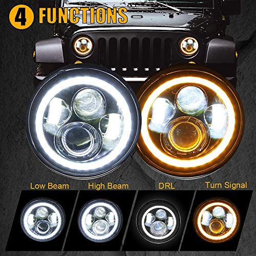 "7"" LED Headlights with Halo White DRL & Amber Turn Signal for Jeep Wrangler JK LJ CJ Hummer H1 H2"