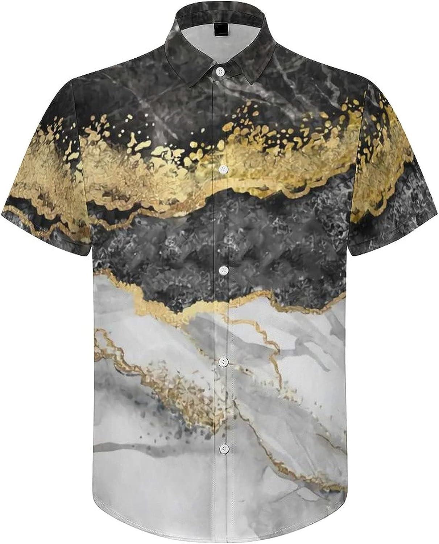Hawaiian Shirts for Men Grey Gold Marble Printed Beach Shirt Hawaiian Shirts