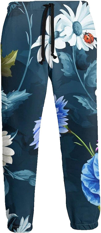 Mens Elastic Waist Sweatpants White Blue Pink Flowers Joggers Sweatpants for Gym Training Sport Pants