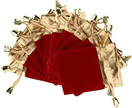 10Pcs Velvet Gift Bags Drawstring Jewelry Pouches Candy Bags Wedding Favors |Color - Red 7x9cm|