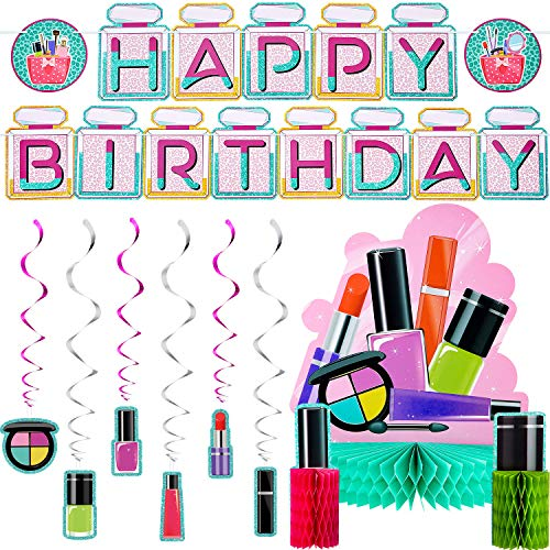 Spa Birthday Party Decorations Kit Spa Happy Birthday Banner Make Up Honeycomb Centerpiece Nail Girl Theme Dizzy Danglers for Birthday Baby Shower Make Up Party Supplies