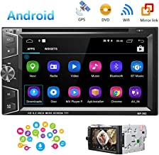 Camecho Double Din Android Car Stereo Radio 6.2'' Touch Screen DVD Player Build-in GPS Navigation WiFi Bluetooth Support Android iOS Mirror Link with FM/USB/SD/Backup Camera Input/APP Download