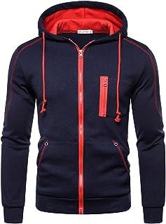 Halfword Men's Fleece Zipped Hoody Sweatshirt Hoodies Casual Hoody Hooded Sweatshirts Long Sleeve Plain Pullover Tops Jackets