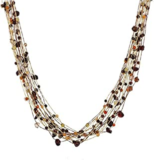 Genuine Multi Gemstones and Crystals Multi-strand Gold Silk Cord Necklace Lobster Claw Clasp 15- 17''
