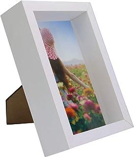 Marco de fotos 3D | Caja de fotos de 4x6 pulgadas | Color blanco | Vitrina de vidrio | Marco blanco con profundidad| Retratos y paisajes | M&W