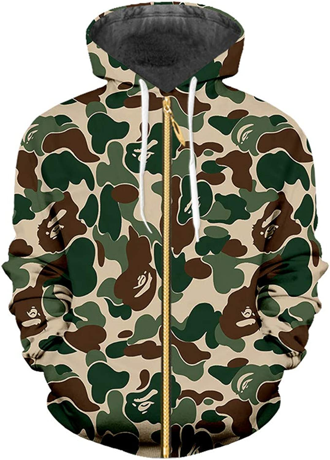 Hoodies Men Women Hip Hop Leisure Zipper Jacket Cool Print Camouflage 3D Hoodie Military Slim Fit Hoody