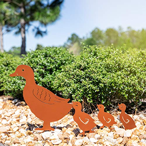 Homarden Metal Animal Yard Decor - Duck Shaped Garden Art for Outside Decorations - Outdoor Decorative Stake Accessories and Lawn Ornaments - Ornamental Gardening Stakes for Decoration - 4 Piece Set