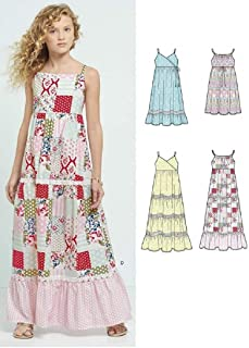 New Look Patterns Girls' Dresses with Trim, Bodice and Lace Variations A (8-10-12-14-16) 6466