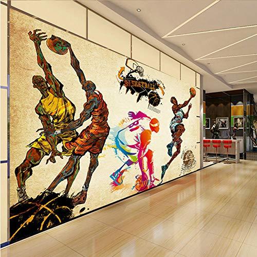 MUMUWUSG Fotomurales Efecto 3D Deportes De Baloncesto Coloridos Retro Creativos Xxl Papel Pintado Tejido No Tejido Decoración De Pared Decorativos Murales Moderna De Diseno Fotográfico