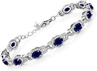 Gem Stone King 925 Sterling Silver Blue Sapphire Women's Tennis Bracelet, 9.71 Cttw, Gemstone Birthstone, 7 Inch with 1 Inch Extender