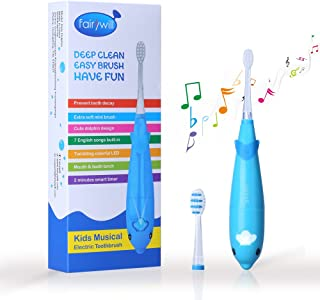 Fairywill Electric Toothbrush Kids Battery Powered with Smart Timer Sonic Toothbrush Built in LED Light with 7 Songs 2 Replacement Heads for Children and Toddler Age 3 to 6 Blue
