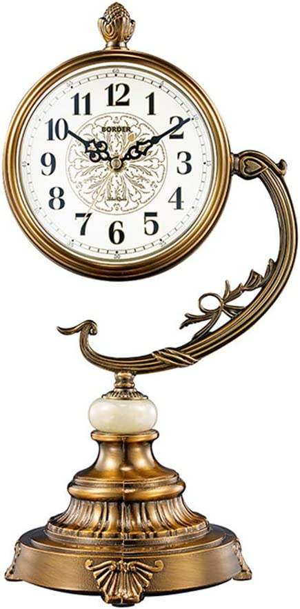 Vintage Chiming Clock Desk Clock with Swinging for Office,Home Decor ZWYY European Retro Table Clock Gift,Battery Operated,A Mantel Clock
