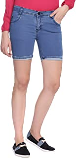 Broadstar Women Denim Blue Shorts