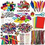 Kit Manualidades niños 1300+PCS, Pipe Cleaners Crafts Set,Juego de Manualidades,Limpiadores de Pipa Chenilla y Pompoms con Wiggle Eyes y Craft Sticks, Juego Creativo Regalo para Craft DIY Art Supplies