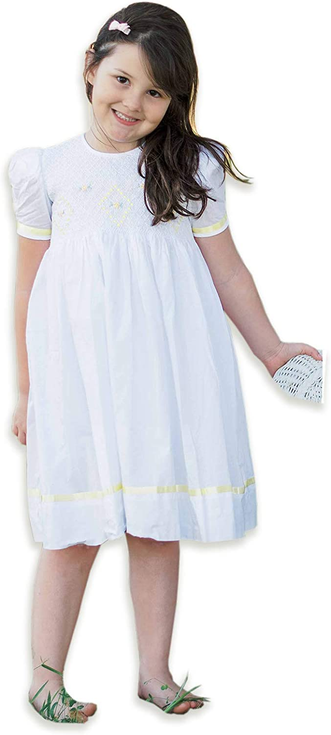 Special Occasion Flower Girls Hand Smocked White Easter Dress Yellow Ribbon