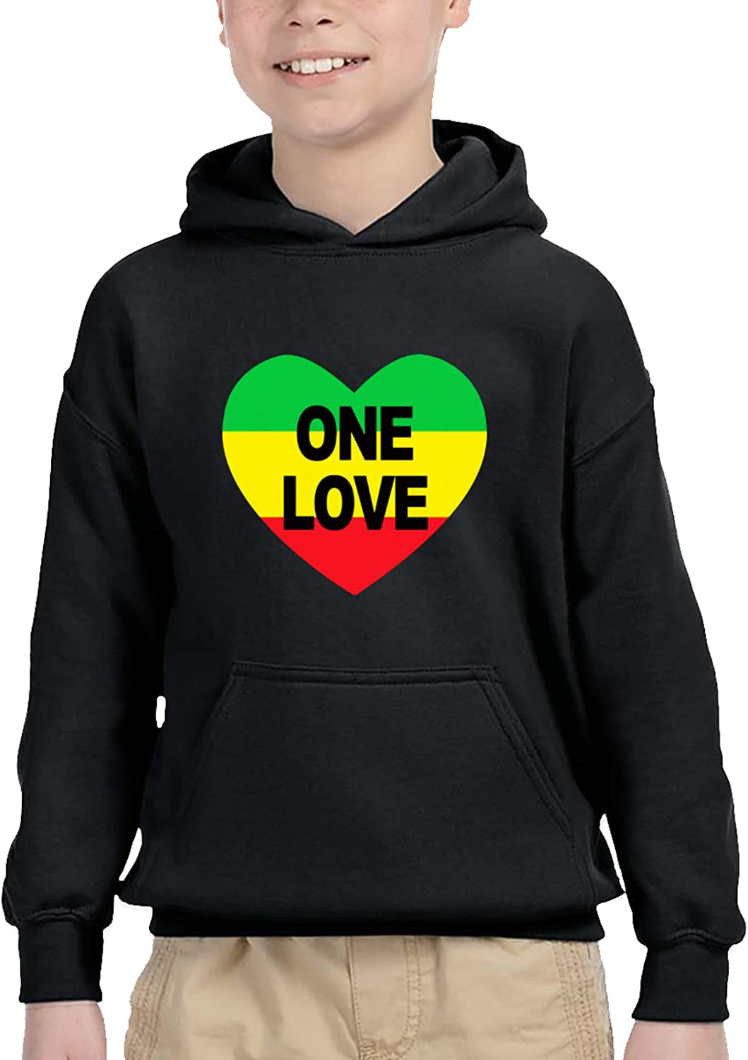 One Love Rasta Teen Hooded Sweater Casual Pullover Hoodies For Baby Boys Girls