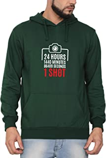 Swag Swami Unisex Cotton 24 Hours 1440 Minutes 86400 Seconds 1 Shot Photography Themed Printed Hoodie | Hooded Sweatshirt