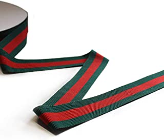QIANF 1 Inch Green/Red/Green Striped Grosgrain Ribbon - 25 Yards(Multiple Widths & Colors Available)