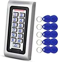 HFeng Standalone IP68 Waterproof RFID Access Control Keypad Metal Card Reader + 10pcs 125KHz Proximity Keychains WG26 2000 Users for Home/Office