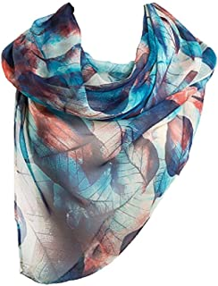 2ae73c575aa97 PALAY Blue 1 Pc fashion leaves printing long georgette silk scarf for Girls  and Women