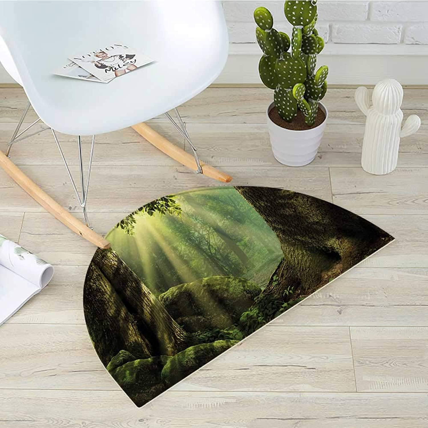 Nature Semicircle Doormat Deep Down in Forest with Sunbeams Reflections on Moss Tree Bodies Scenery Halfmoon doormats H 39.3  xD 59  Olive and Army Green