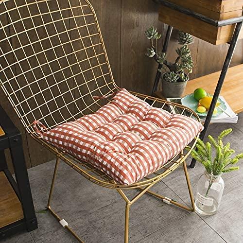 Juego de 2 cojines acolchados para silla cuadrados,cómodos y suaves cojines de asiento,cojín de asiento duradero,hermosa tira a cuadros para oficina,sillón de jardín,40 x 40 cm,con cordones,co