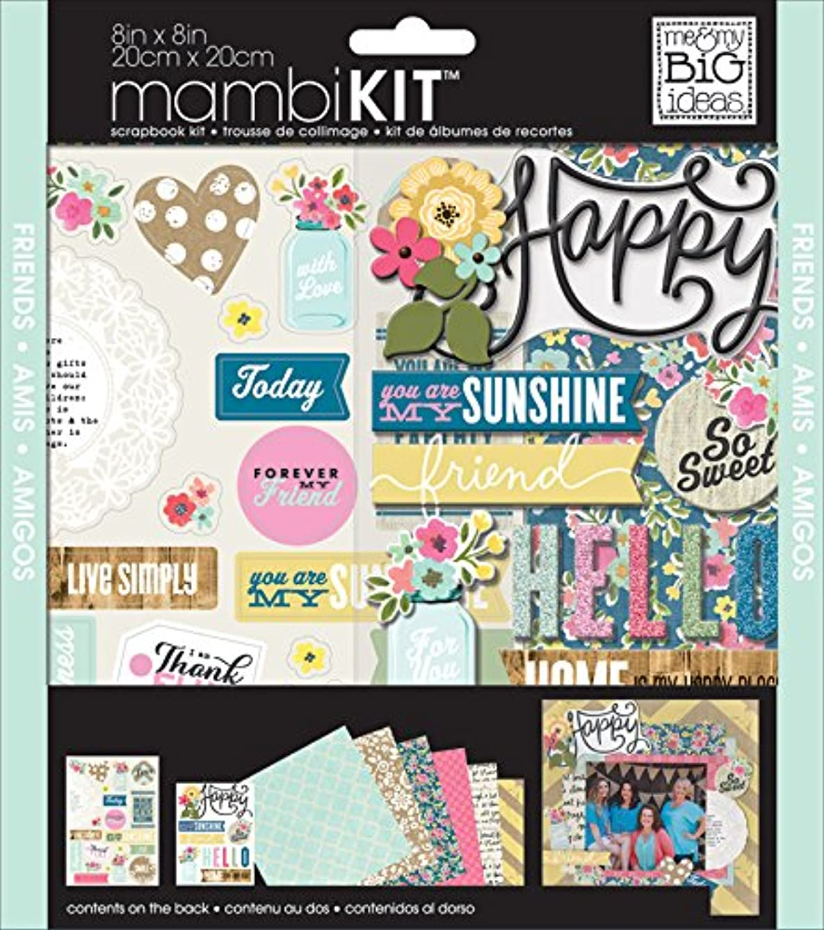 me & my BIG ideas Scrapbook Page Kit, American Sweetheart, 8-Inch by 8-Inch