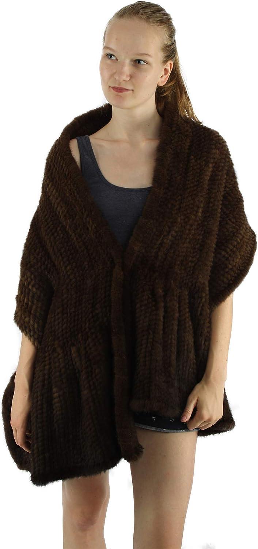 Pulinda Women's Winter Knitted Mink Fur Scarf Cape
