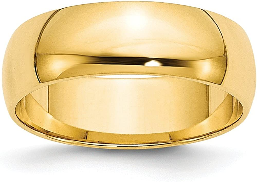 14k Yellow Gold 6mm Half Round Wedding Ring Band Size 5 Classic