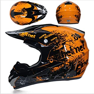 JWL Motocross Helm Orange Floral, Herren Cross Helm Mit Brille Maskenhandschuhe 4 Stück, Adult Motorrad Sport Damen Herren Downhill Helm ATV MTB Quad Bike Motocross Helm XL