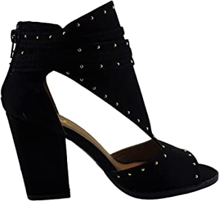 Lost-07 Womens Peep Toe Cutout Studded Ankle Bootie