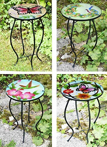 Iron/Glass Round Mosaic Design Side Table Garden Outdoor Patio Flower Plant Stand (Assorted Design)