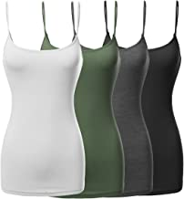 Made by Emma Women's Basic Solid Long Length Adjustable Spaghetti Strap Tank Top 4 Pack