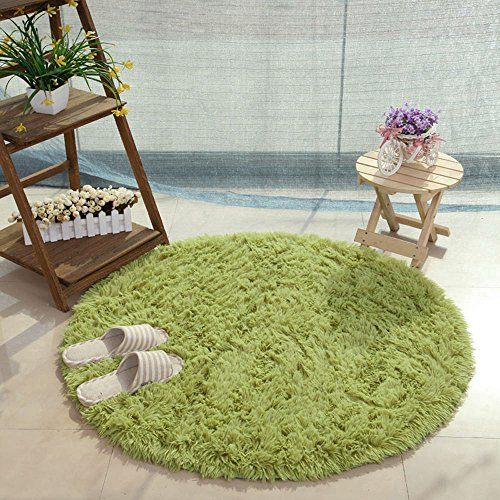 GULI Round Area Rug for Living Room, Non-Slip Plush Fluffy Carpet for Bedroom, Small Soft Modern Indoor Shaggy Area Rug, Circle Nursery Rug for Kids Baby Girls Home Decor (40X40 inch, Green)