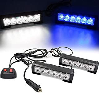 FOXCID 2 X 6 LED 9 Modes Traffic Advisor Emergency Warning Vehicle Strobe Lights for Interior Roof/Dash/Windshield/Grille/Deck Universal Waterproof (White/Blue)